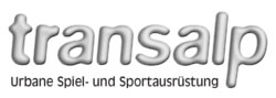 Das Logo des Herstellers transalp, die Multisportanlagen und Fitnessgeräte produzieren.